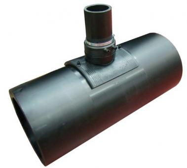 T90° reduziert mit Anschlusssattel PE100 SDR11